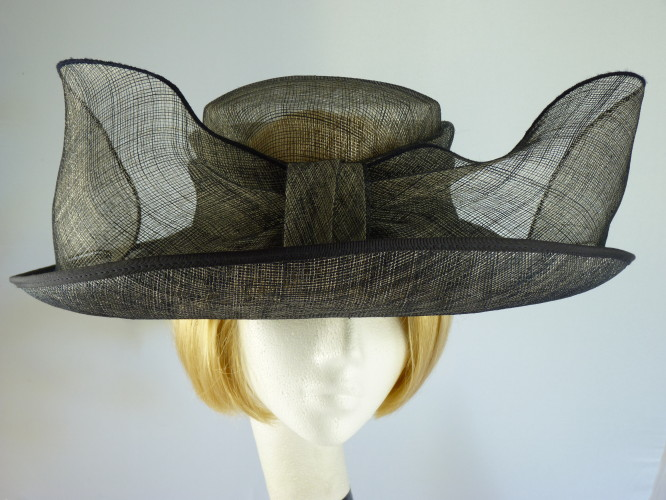 Gina Bacconi Ascot hat Black and Grey